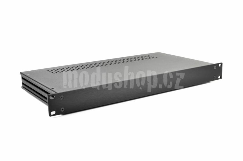 1SL01230N - 1U rack krabice s lištou, 230mm, 4mm - rack panel černý