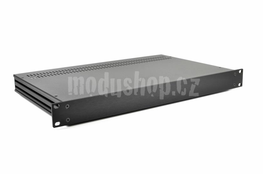 1SL01280N - 1U rack krabice s lištou, 280mm, 4mm - rack panel černý