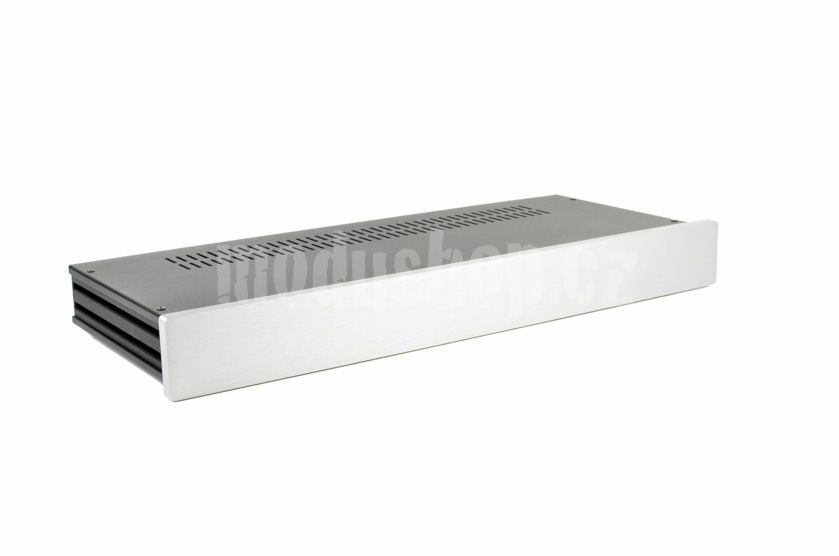 1NSL01170B - 1U rack krabice s lištou, 170mm, 10mm - panel stříbrný