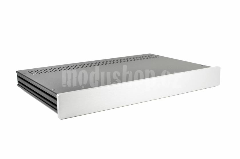 1NSL01280B - 1U rack krabice s lištou, 280mm, 10mm - panel stříbrný