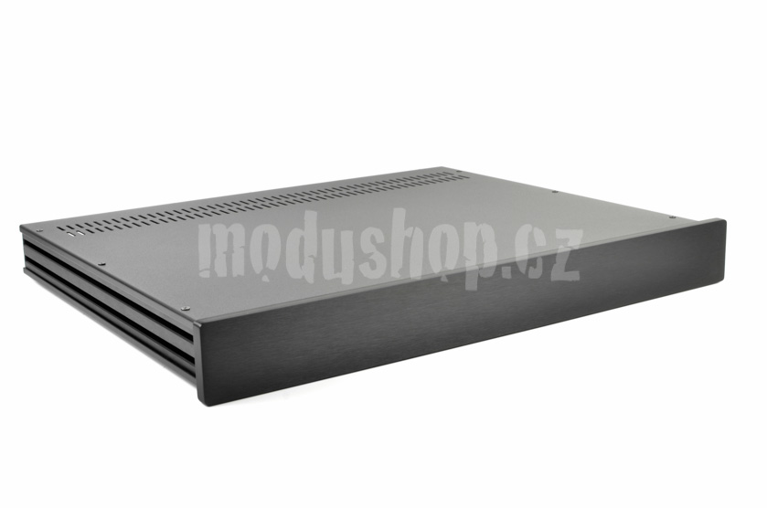 1NSL01350N - 1U rack krabice s lištou, 350mm, 10mm - panel černý