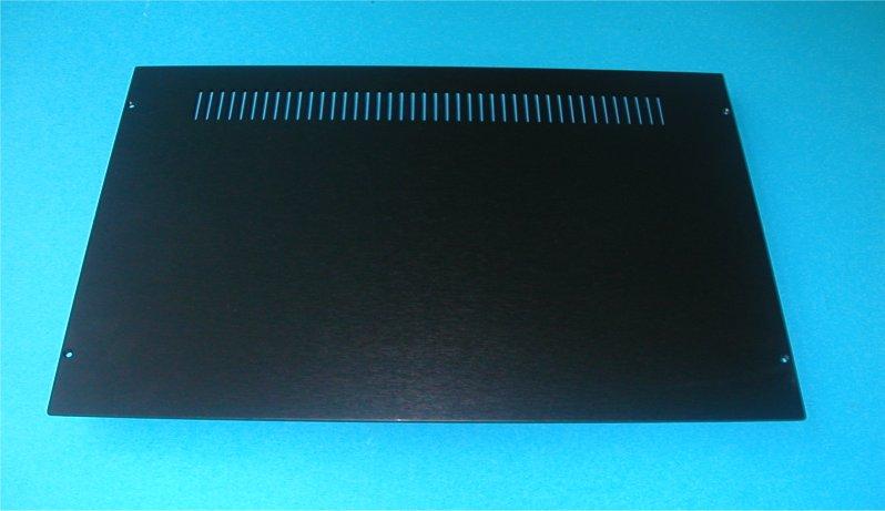 1NSLA01280N - 1U rack krabice s lištou, 280mm, 10mm - panel černý, AL víka