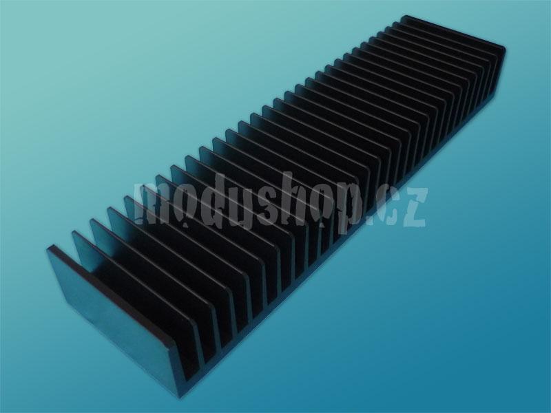 1NPDA02300N - 2U Krabice s chladičem, 300mm, 10mm-panel černý, AL víka