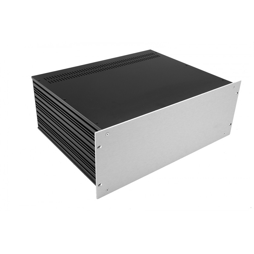 1SL04350B - 4U rack krabice s lištou, 350mm, 4mm - rack panel stříbrný