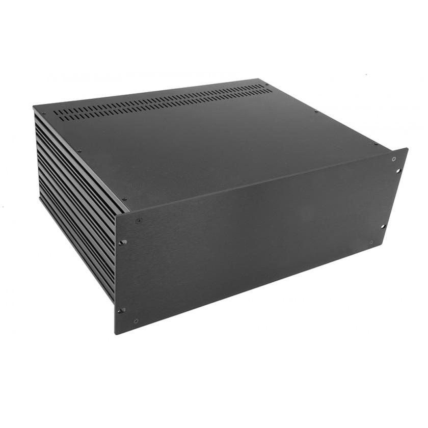 1SL04350N - 4U rack krabice s lištou, 350mm, 4mm - rack panel černý
