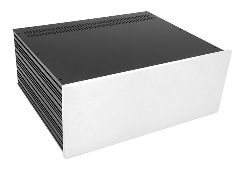 4U rack krabice s lištou, 350mm, 10mm - panel stříbrný