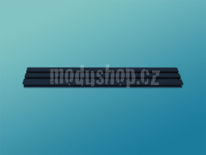 1NSLA01280B - 1U rack krabice s lištou, 280mm, 10mm - panel stříbrný, AL víka