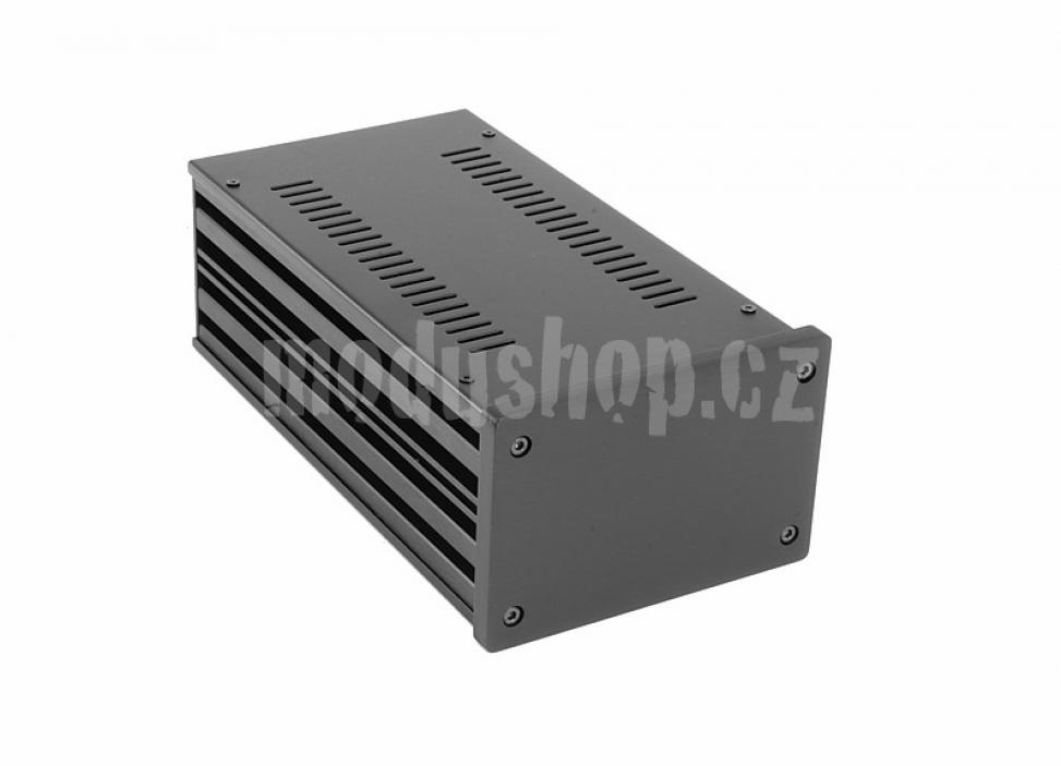 1NGX183N - 2U Galaxy krabice, 124 x 230 x 80mm, 10mm panel černý, Fe víka
