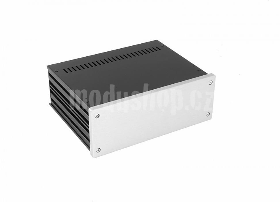 1NGX287 - 2U Galaxy krabice, 230 x 170 x 80mm, 10mm panel stříbrný, Fe víka