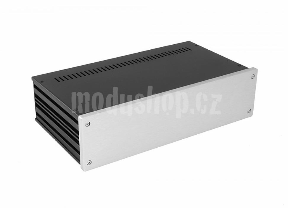 1NGX387 - 2U Galaxy krabice, 330 x 170 x 80mm, 10mm panel stříbrný, Fe víka