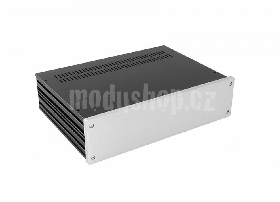 1NGX383 - 2U Galaxy krabice, 330 x 230 x 80mm, 10mm panel stříbrný, Fe víka