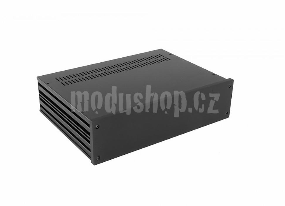 1NGX383N - 2U Galaxy krabice, 330 x 230 x 80mm, 10mm panel černý, Fe víka