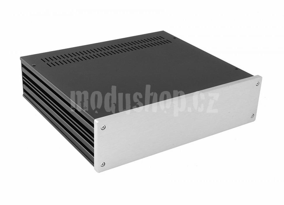 1NGX388 - 2U Galaxy krabice, 330 x 280 x 80mm, 10mm panel stříbrný, Fe víka